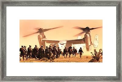 Us Marine Medium Tiltrotor Squadron 365 Mv 22 Osprey Framed Print by US Marine Corps Sgt Mark Fayloga - L Brown