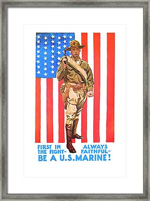 Framed Print featuring the mixed media U.s. Marine by Presented By American Classic Art