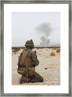 U.s. Marine Provides Security As Part Framed Print by Stocktrek Images