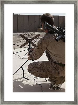 U.s. Marine Repositions A Satellite Framed Print