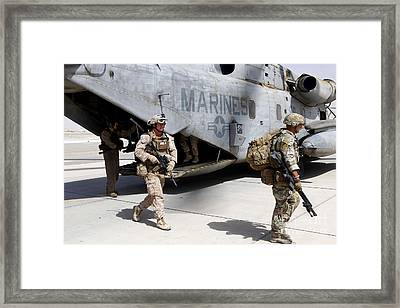 U.s. Marines And British Soldiers Exit Framed Print by Stocktrek Images