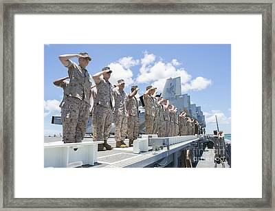 U.s. Marines And Sailors Render Honors Framed Print