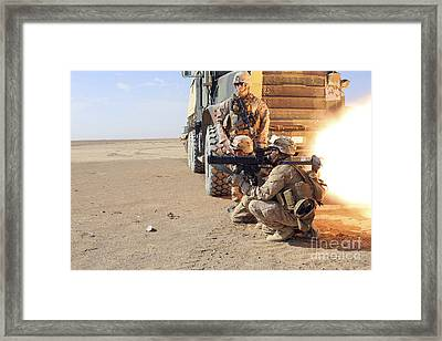 U.s. Marines Conduct A Rocket Range Framed Print