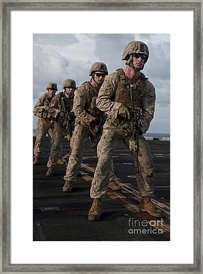 U.s. Marines Prepare To Fire At Targets Framed Print