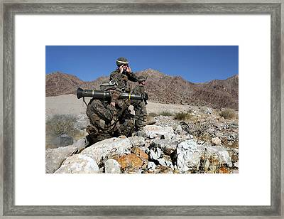 U.s. Marines Provide Supportive Fire Framed Print by Stocktrek Images