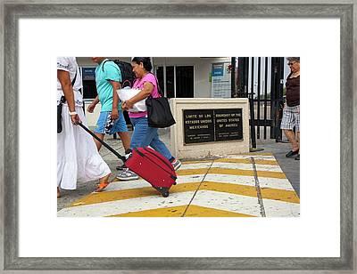 Us-mexico Border At Tijuana Framed Print