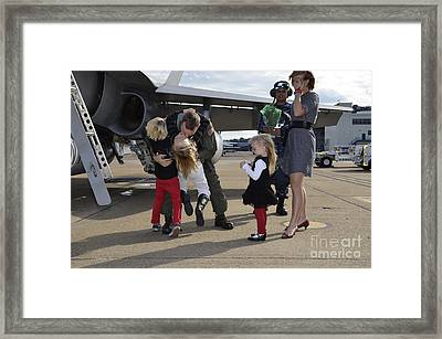 U.s. Navy Aviator Is Reunited Framed Print