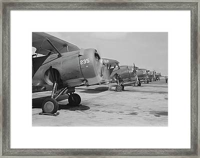 U.s. Navy F3f Fighter Planes Lined Framed Print by Stocktrek Images