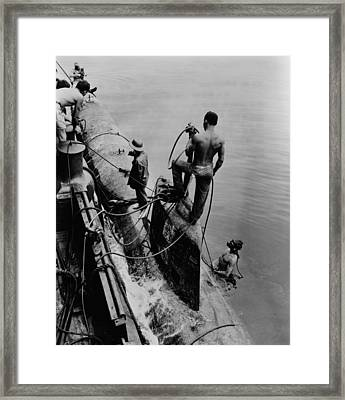 U.s. Navy Tug Raises One Of Eight Framed Print