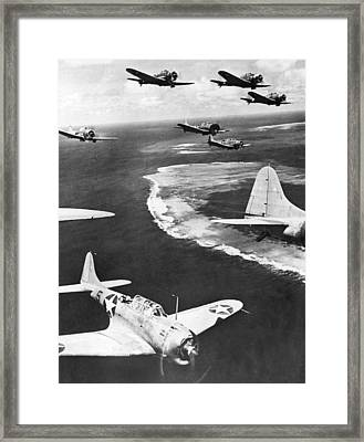 Us Planes Patrol Midway Island Framed Print