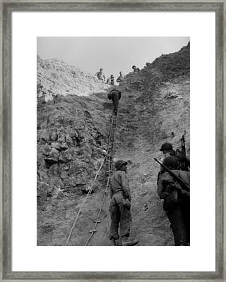 U.s. Rangers Climb A Cliff Using A Rope Framed Print