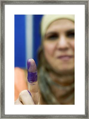 Us-resident Iraqi Votes In Iraq Election Framed Print by Jim West
