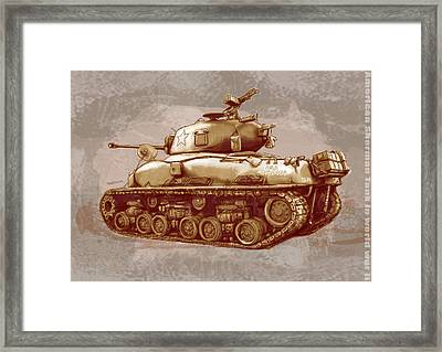 Us Sherman Tank In World War 2 - Stylised Modern Drawing Art Sketch Framed Print