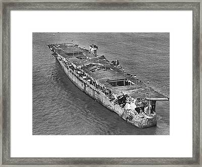 Us Ship After 1946 Atomic Bomb Test Framed Print