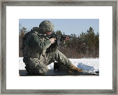 U.s. Soldier Fires His M4a3 Carbine Framed Print by Stocktrek Images