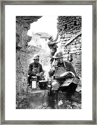 Us Soldiers With Captured German Phone Framed Print by Us Air Force