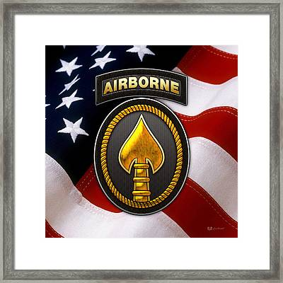 U. S. Special Operations Command -  U S S O C O M Patch Over American Flag Framed Print by Serge Averbukh