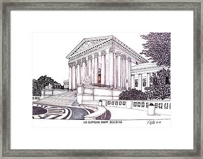 Us Supreme Court Building Framed Print by Frederic Kohli