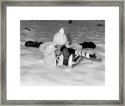 U.s. Technical Sergeant In The New Snow Framed Print by Everett