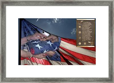 Us Veterans Burial Flag 3 Panel Composite Digital Art Framed Print by Thomas Woolworth