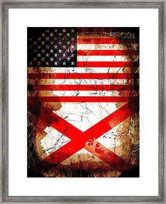 Usa Alabama Grunge Flags Framed Print