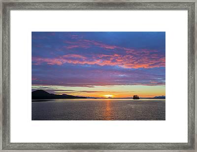 Usa, Alaska Sunset On Flynn Cove Credit Framed Print