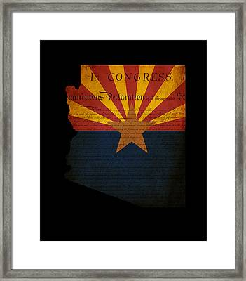 Usa American Arizona State Map Outline With Grunge Effect Flag A Framed Print by Matthew Gibson