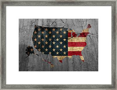 Usa American Flag Country Outline Painted On Old Cracked Cement Framed Print