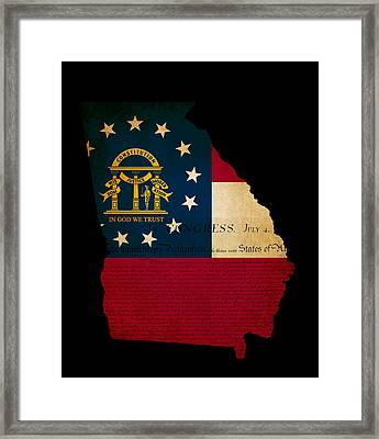 Usa American Georgia State Map Outline With Grunge Effect Flag A Framed Print by Matthew Gibson