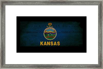 Usa American Kansas State Map Outline With Grunge Effect Flag An Framed Print by Matthew Gibson
