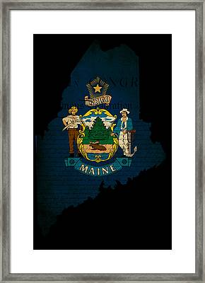 Usa American Maine State Map Outline With Grunge Effect Flag And Framed Print by Matthew Gibson