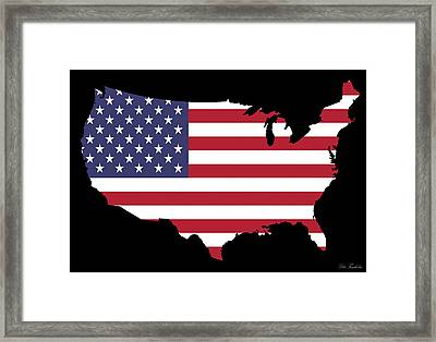 Usa And Flag Framed Print by Pete Trenholm