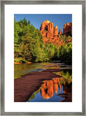 Usa, Arizona Cathedral Rock Reflects Framed Print