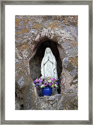 Usa, Arizona Statue Of The Virgin Mary Framed Print by Luc Novovitch