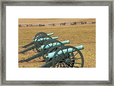 Usa, Arkansas Civil War Cannons At Pea Framed Print by Jaynes Gallery