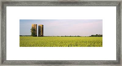 Usa, Arkansas, View Of Grain Silos Framed Print by Panoramic Images