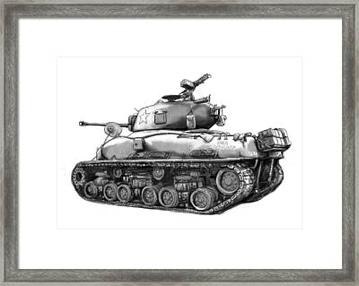 Usa Army Tank In World 2 Drawing Art Poster Framed Print by Kim Wang