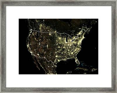 Usa At Night Framed Print by Planetobserver