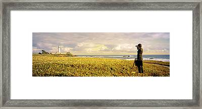 Usa, California, Businessman Standing Framed Print