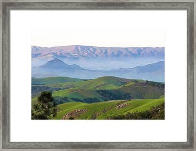 Usa, California Evening Fog Morro Rock Framed Print