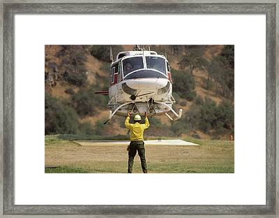 Usa, California, Fire Helicopter Framed Print by Gerry Reynolds