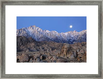 Usa, California Moonset On Lone Pine Framed Print