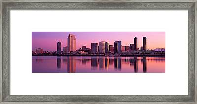 Usa, California, San Diego, Twiilight Framed Print