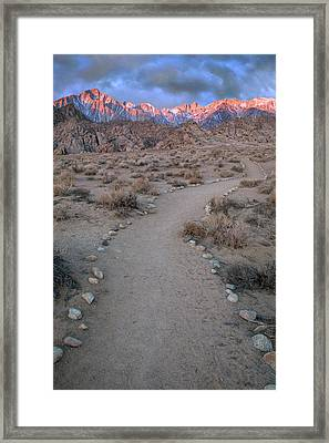 Usa, California Sunrise On Lone Pine Framed Print