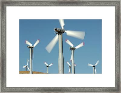 Usa, California, Wind Farm, Wind Power Framed Print