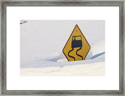 Usa, Colorado A Slippery When Wet Sign Framed Print by Jaynes Gallery