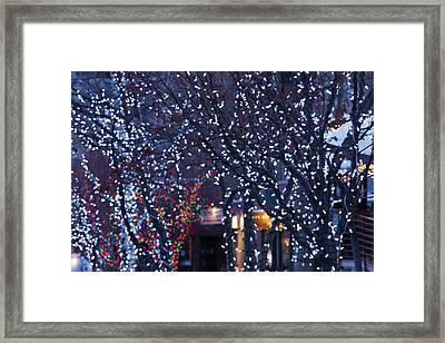 Usa, Colorado, Aspen, Christmas Lights Framed Print by Walter Bibikow