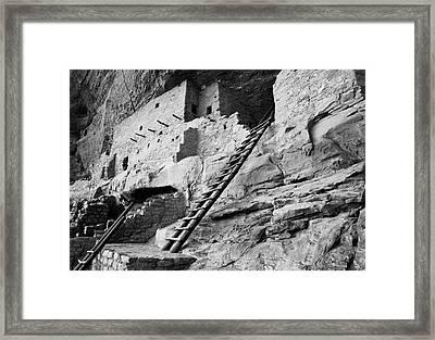 Usa, Colorado, Mesa Verde, Ladder House Framed Print
