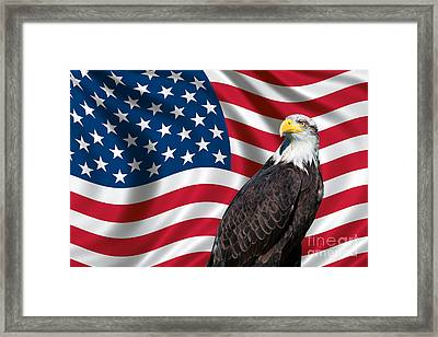 Framed Print featuring the photograph Usa Flag And Bald Eagle by Carsten Reisinger