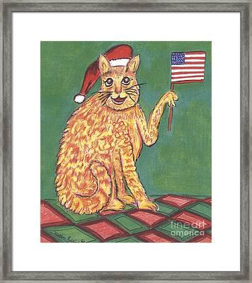 Usa Flag Cat Framed Print by Marlene Robbins